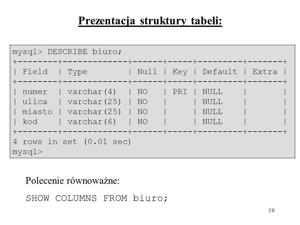 Prezentacja struktury tabeli: