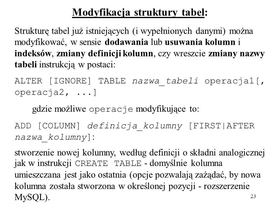 Modyfikacja struktury tabel: