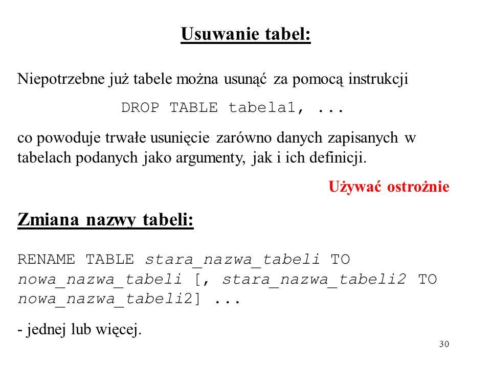 Usuwanie tabel: Zmiana nazwy tabeli:
