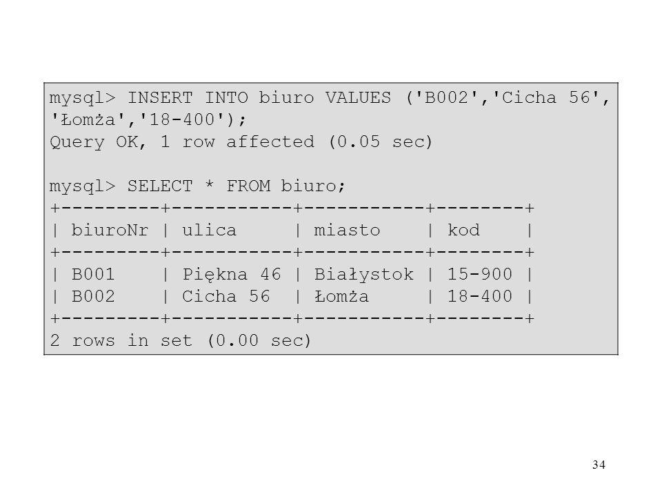 mysql> INSERT INTO biuro VALUES ( B002 , Cicha 56 , Łomża , 18-400 );