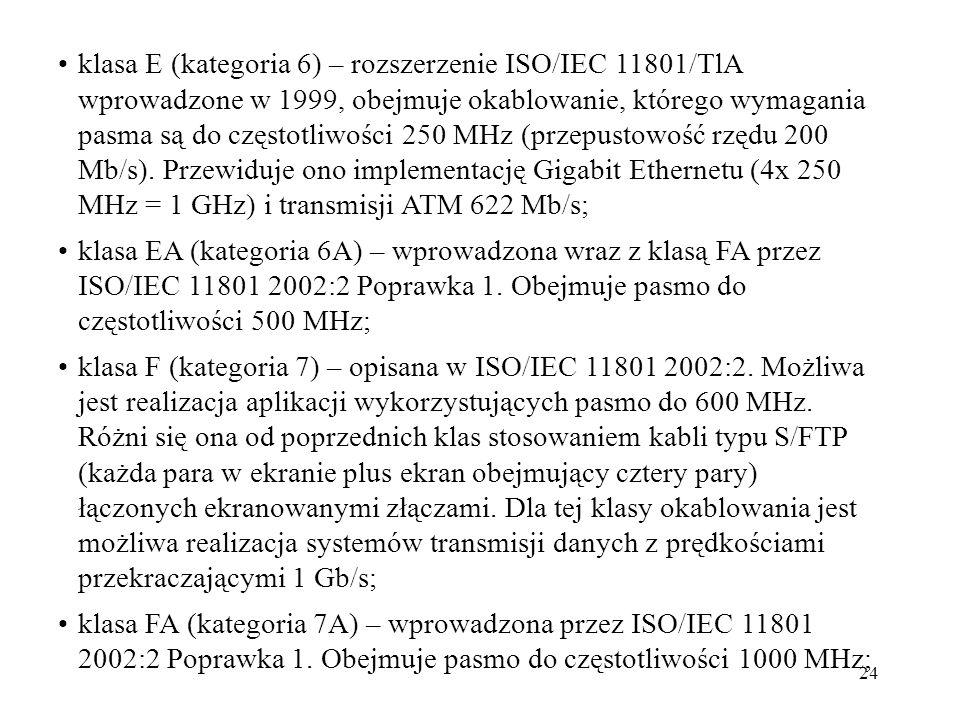 klasa E (kategoria 6) – rozszerzenie ISO/IEC 11801/TlA wprowadzone w 1999, obejmuje okablowanie, którego wymagania pasma są do częstotliwości 250 MHz (przepustowość rzędu 200 Mb/s). Przewiduje ono implementację Gigabit Ethernetu (4x 250 MHz = 1 GHz) i transmisji ATM 622 Mb/s;