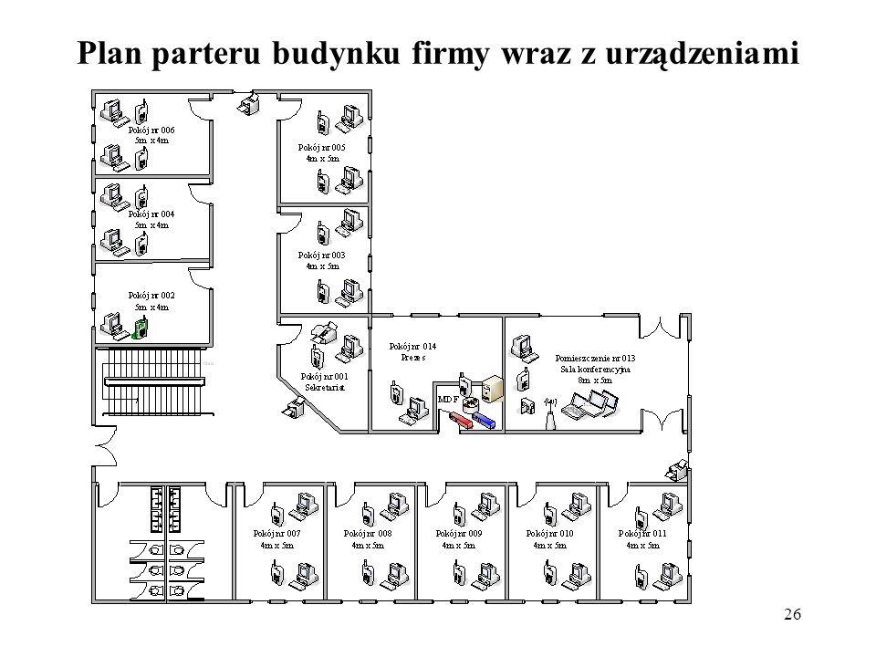 Plan parteru budynku firmy wraz z urządzeniami