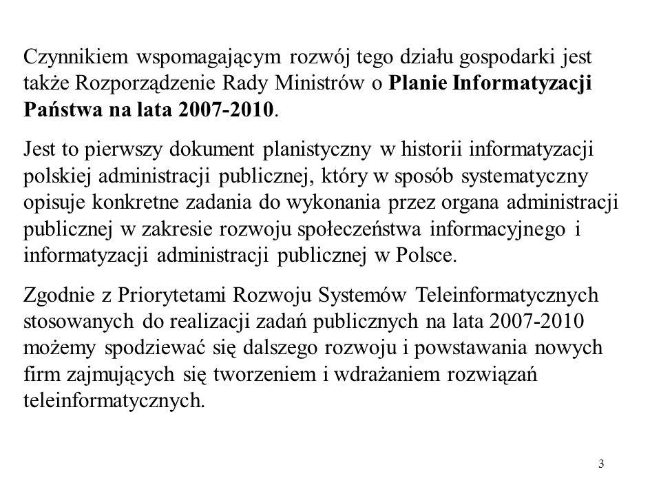 Czynnikiem wspomagającym rozwój tego działu gospodarki jest także Rozporządzenie Rady Ministrów o Planie Informatyzacji Państwa na lata 2007-2010.