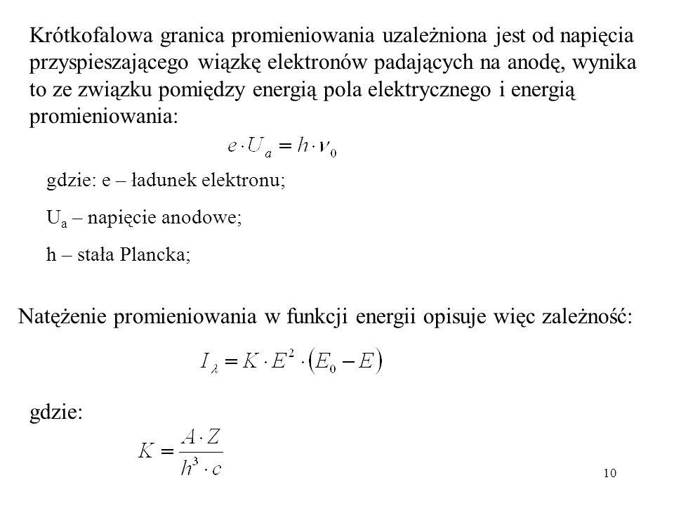 Natężenie promieniowania w funkcji energii opisuje więc zależność: