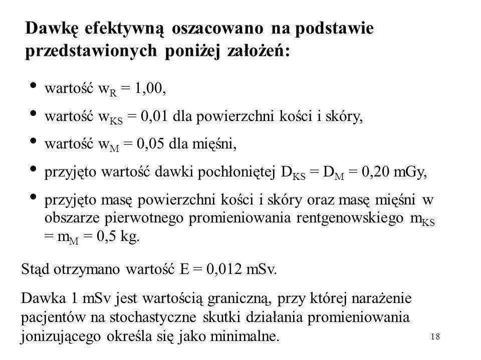 Dawkę efektywną oszacowano na podstawie przedstawionych poniżej założeń: