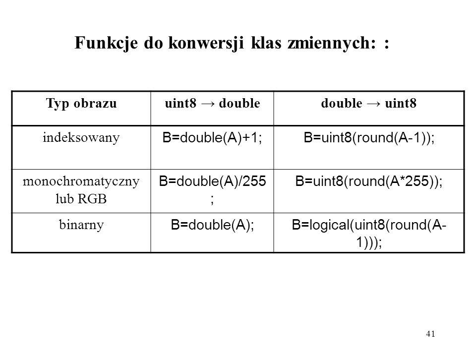 Funkcje do konwersji klas zmiennych: :