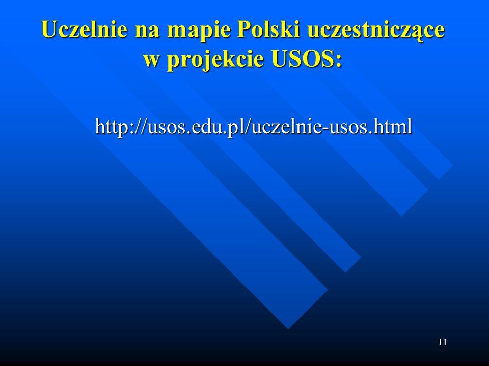 Uczelnie na mapie Polski uczestniczące w projekcie USOS: