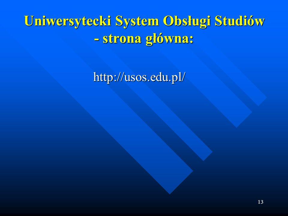 Uniwersytecki System Obsługi Studiów - strona główna: