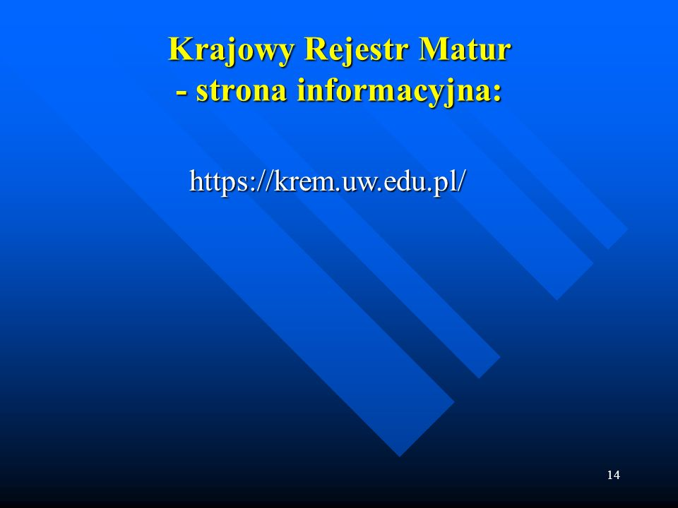 Krajowy Rejestr Matur - strona informacyjna: