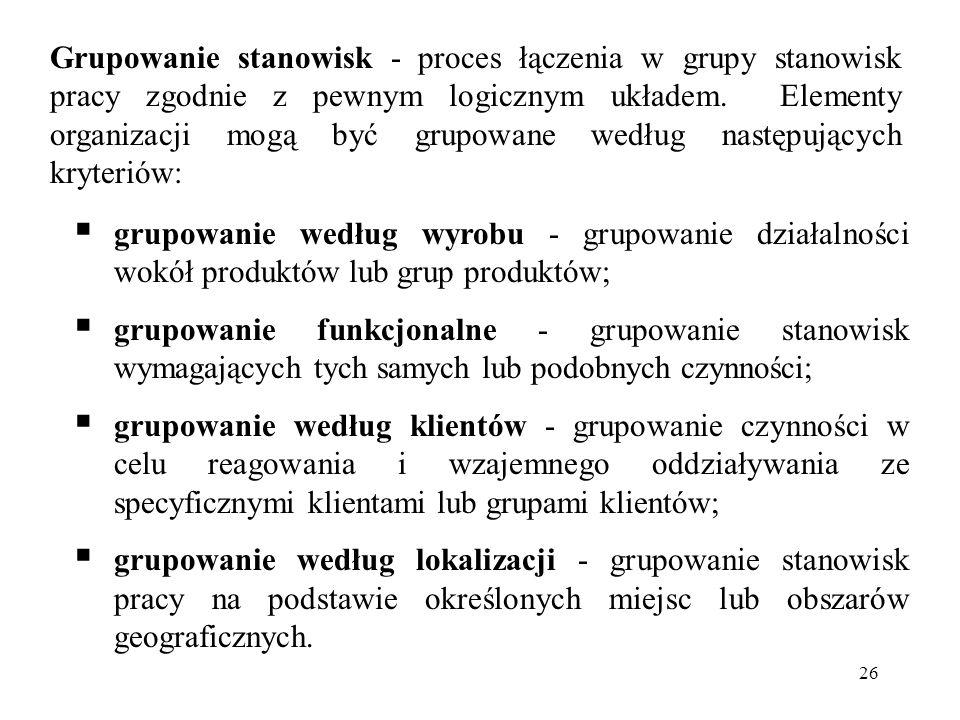 Grupowanie stanowisk - proces łączenia w grupy stanowisk pracy zgodnie z pewnym logicznym układem. Elementy organizacji mogą być grupowane według następujących kryteriów: