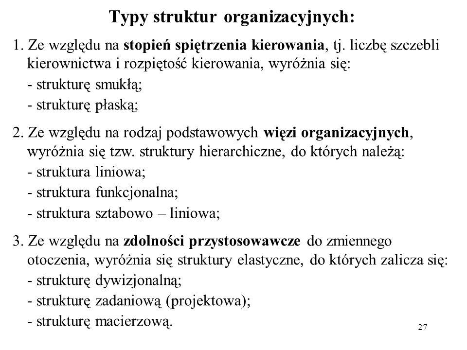 Typy struktur organizacyjnych: