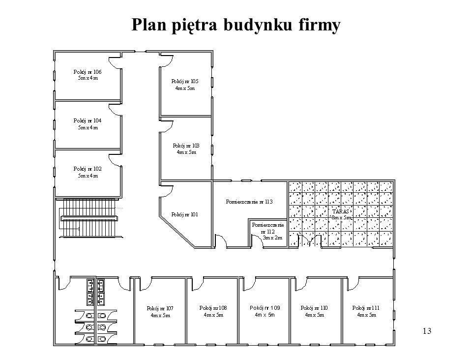 Plan piętra budynku firmy