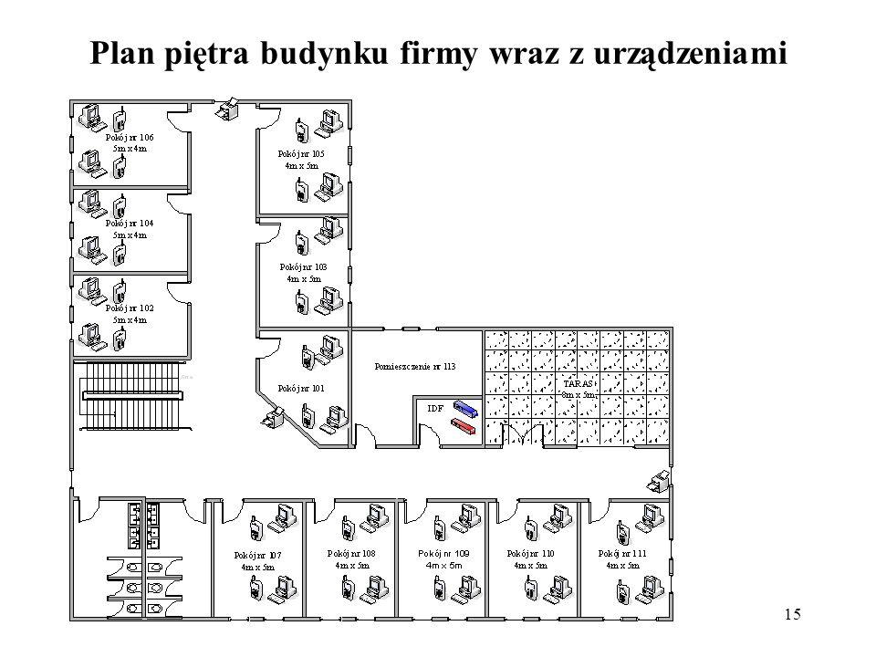 Plan piętra budynku firmy wraz z urządzeniami