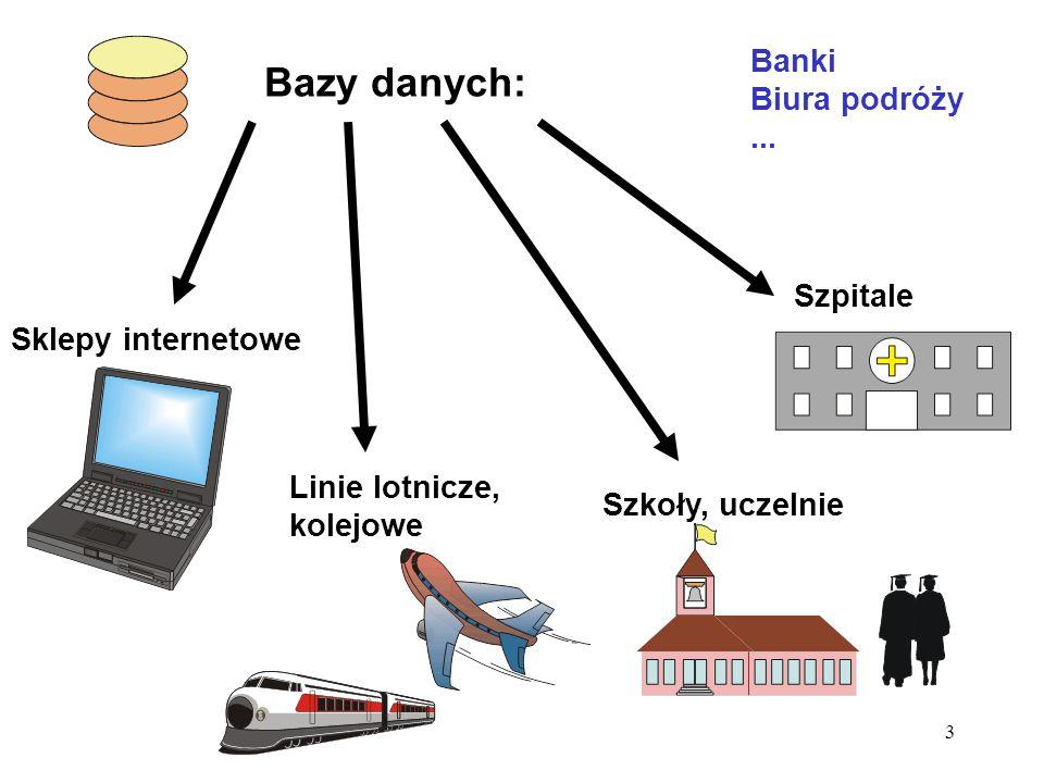 Bazy danych: Banki Biura podróży ... Szpitale Sklepy internetowe
