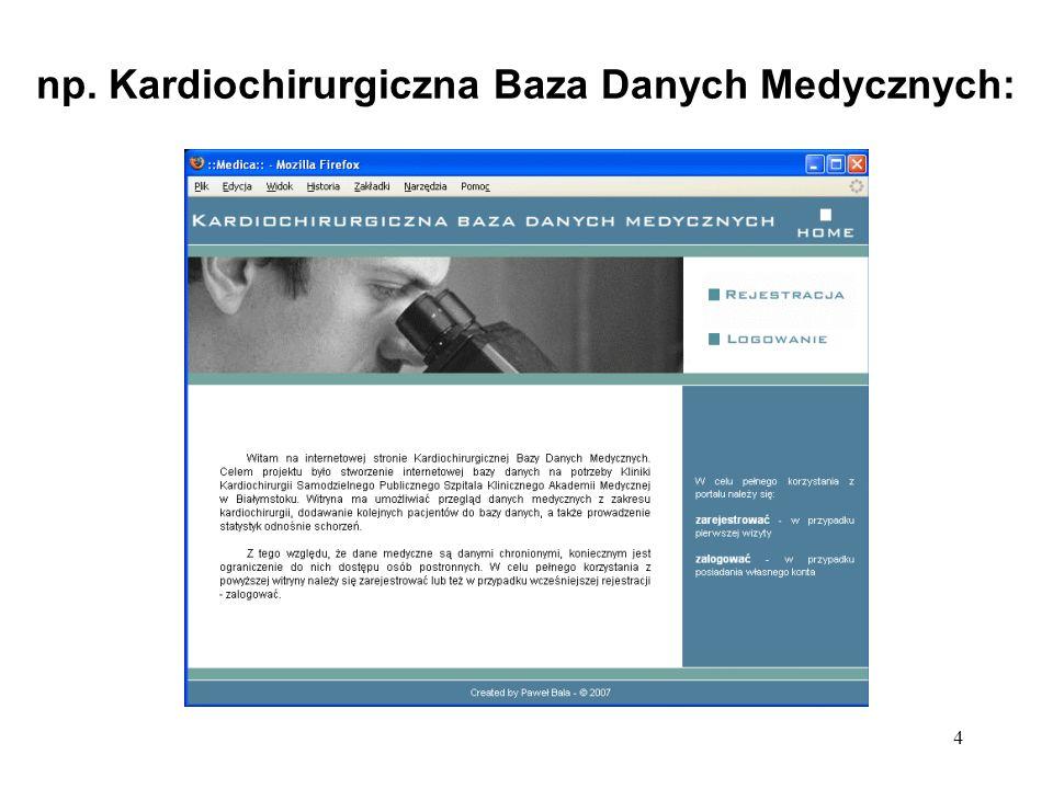 np. Kardiochirurgiczna Baza Danych Medycznych: