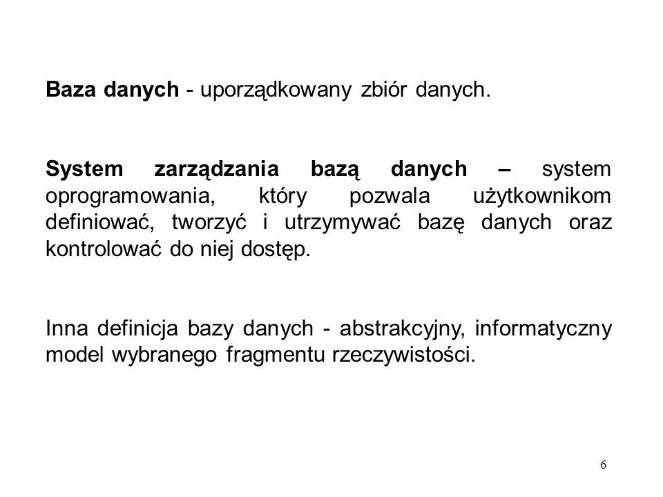 Baza danych - uporządkowany zbiór danych.
