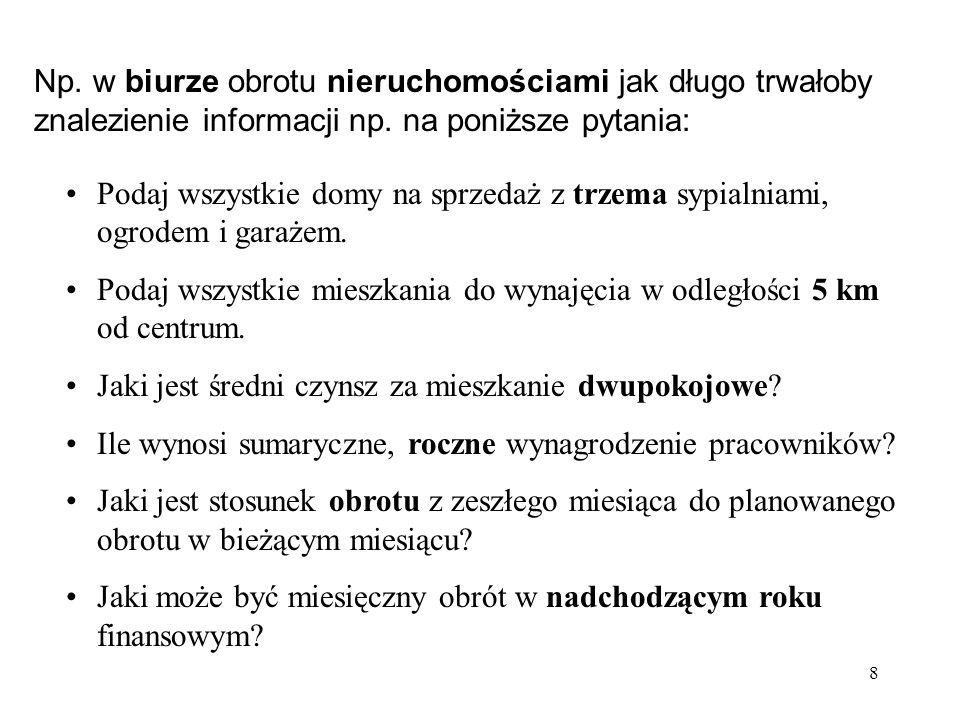 Np. w biurze obrotu nieruchomościami jak długo trwałoby znalezienie informacji np. na poniższe pytania: