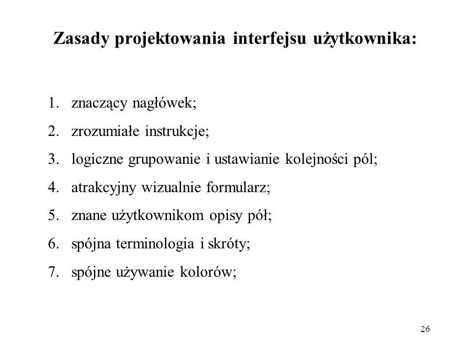 Zasady projektowania interfejsu użytkownika:
