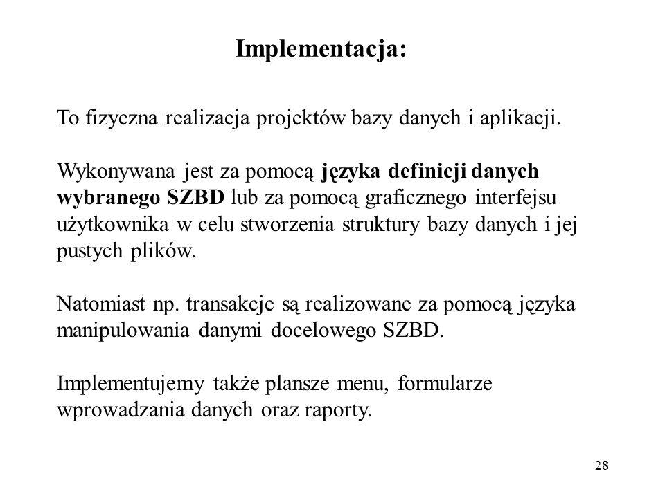Implementacja: To fizyczna realizacja projektów bazy danych i aplikacji.