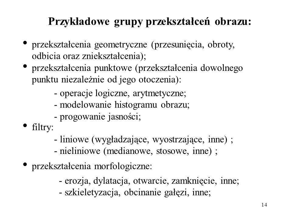 Przykładowe grupy przekształceń obrazu: