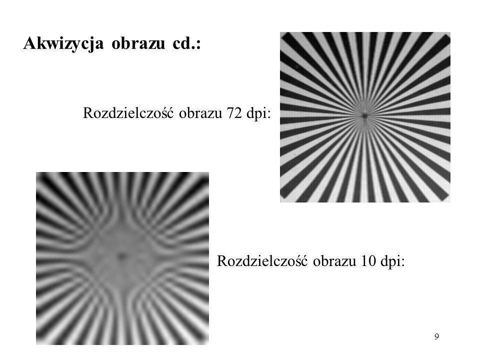 Akwizycja obrazu cd.: Rozdzielczość obrazu 72 dpi: