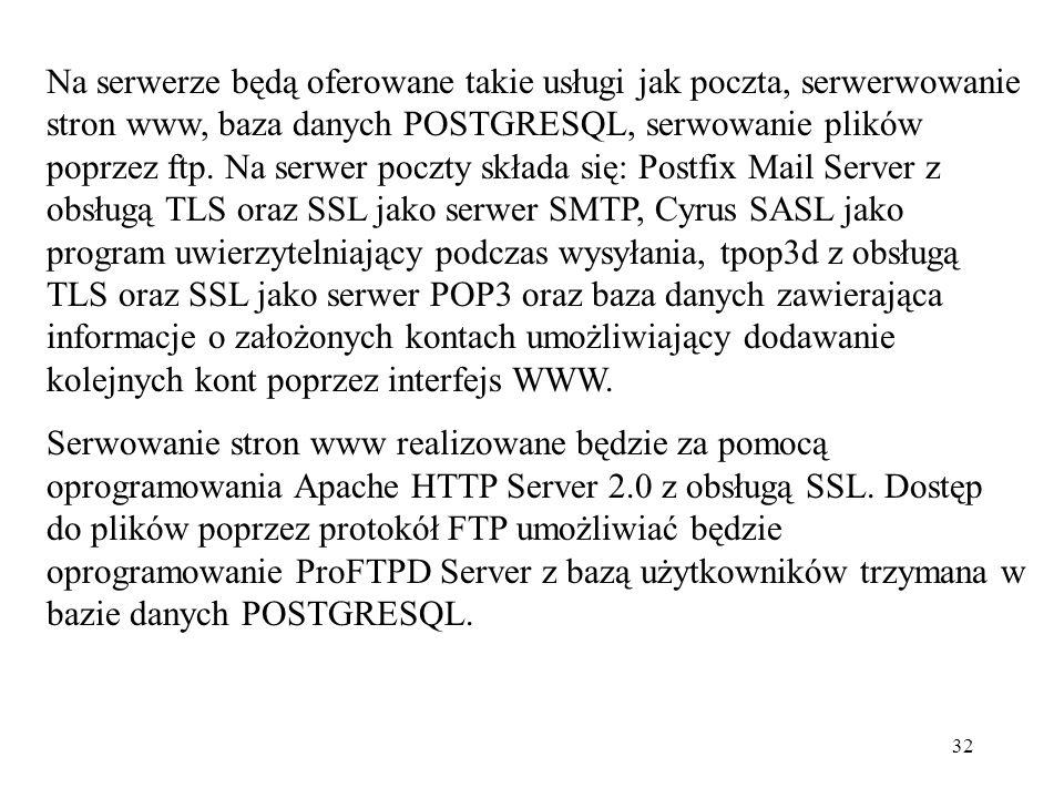 Na serwerze będą oferowane takie usługi jak poczta, serwerwowanie stron www, baza danych POSTGRESQL, serwowanie plików poprzez ftp. Na serwer poczty składa się: Postfix Mail Server z obsługą TLS oraz SSL jako serwer SMTP, Cyrus SASL jako program uwierzytelniający podczas wysyłania, tpop3d z obsługą TLS oraz SSL jako serwer POP3 oraz baza danych zawierająca informacje o założonych kontach umożliwiający dodawanie kolejnych kont poprzez interfejs WWW.