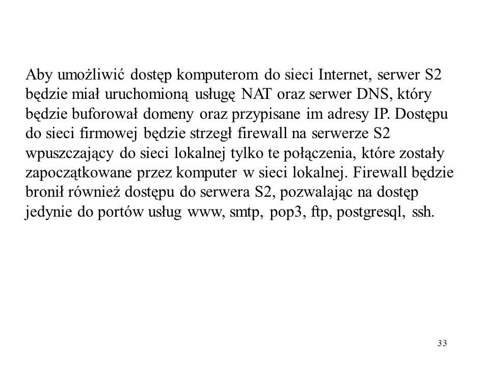 Aby umożliwić dostęp komputerom do sieci Internet, serwer S2 będzie miał uruchomioną usługę NAT oraz serwer DNS, który będzie buforował domeny oraz przypisane im adresy IP.