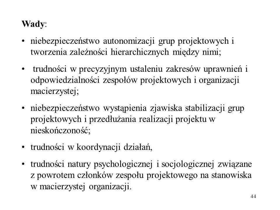 Wady: niebezpieczeństwo autonomizacji grup projektowych i tworzenia zależności hierarchicznych między nimi;