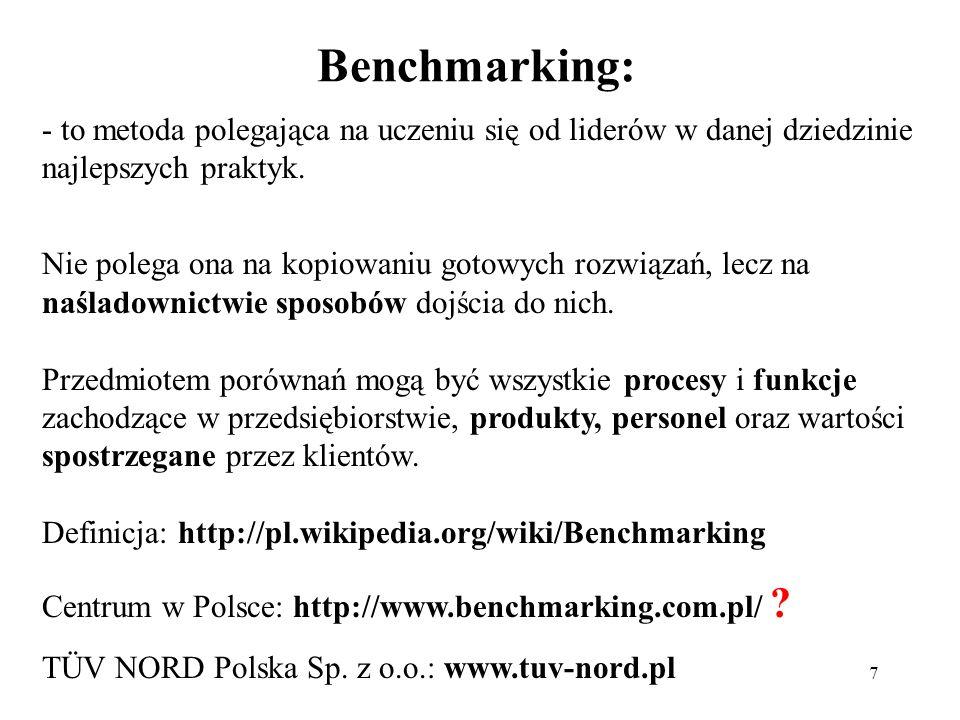Benchmarking: - to metoda polegająca na uczeniu się od liderów w danej dziedzinie najlepszych praktyk.