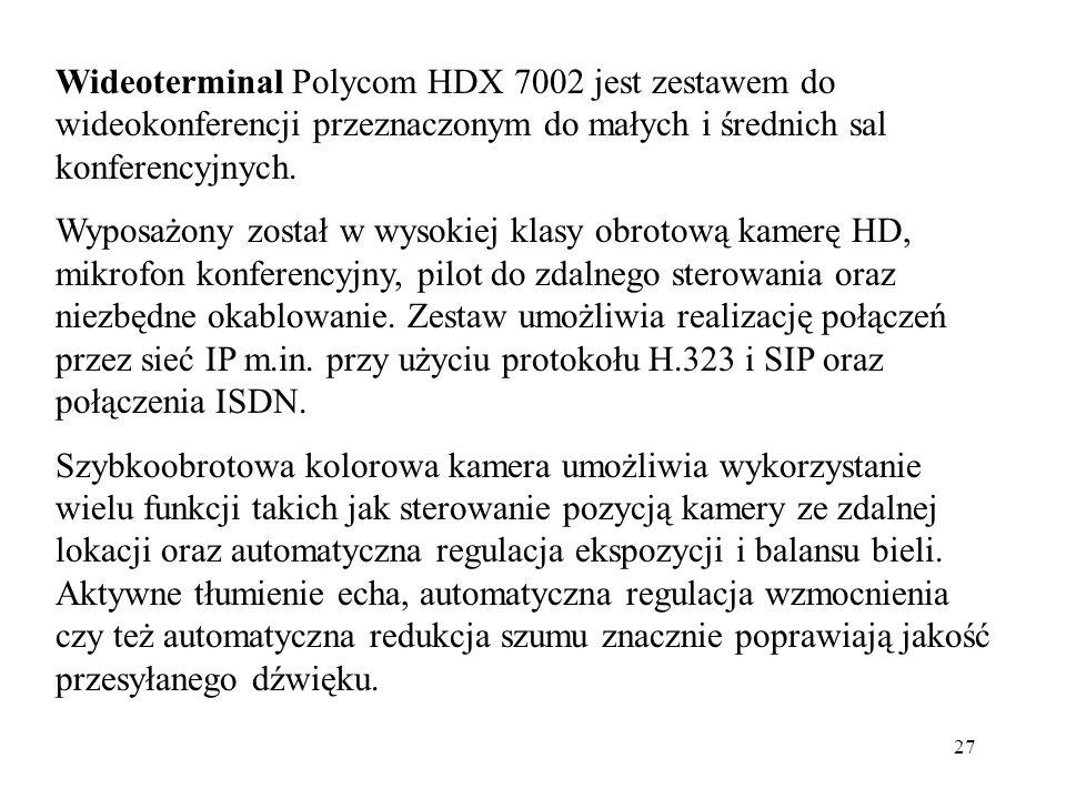 Wideoterminal Polycom HDX 7002 jest zestawem do wideokonferencji przeznaczonym do małych i średnich sal konferencyjnych.