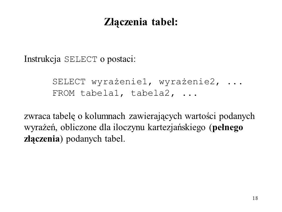 Złączenia tabel: Instrukcja SELECT o postaci:
