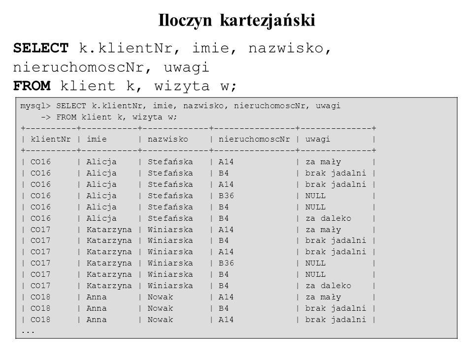Iloczyn kartezjański SELECT k.klientNr, imie, nazwisko, nieruchomoscNr, uwagi. FROM klient k, wizyta w;