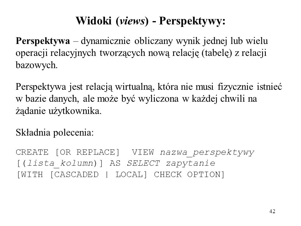 Widoki (views) - Perspektywy: