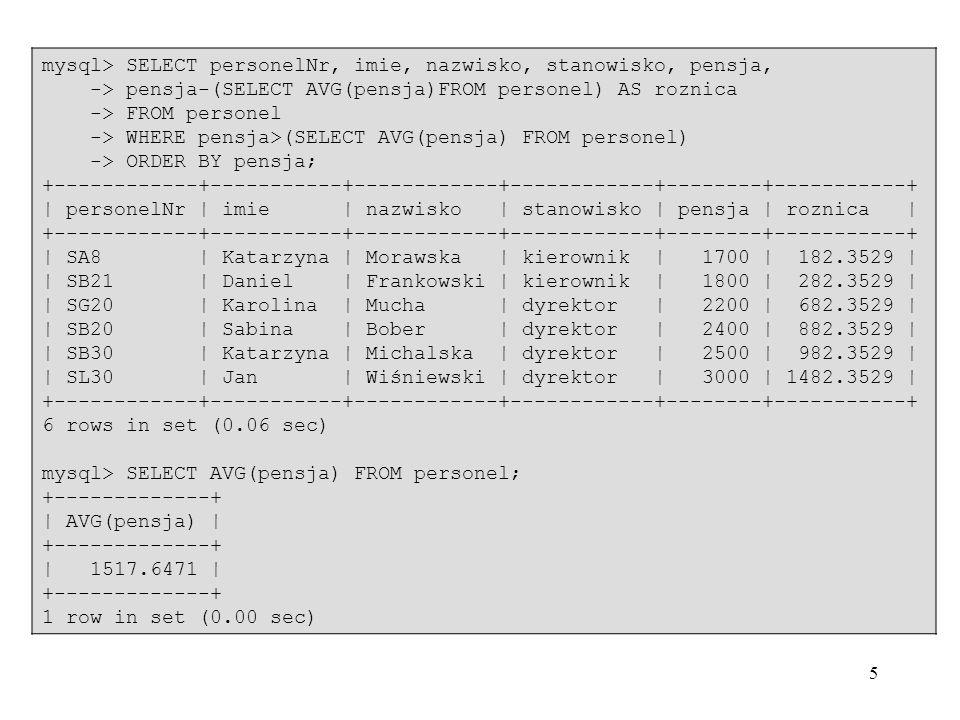 mysql> SELECT personelNr, imie, nazwisko, stanowisko, pensja,