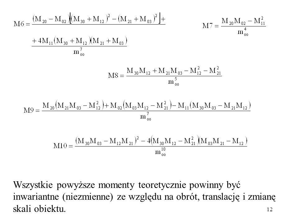 Wszystkie powyższe momenty teoretycznie powinny być inwariantne (niezmienne) ze względu na obrót, translację i zmianę skali obiektu.