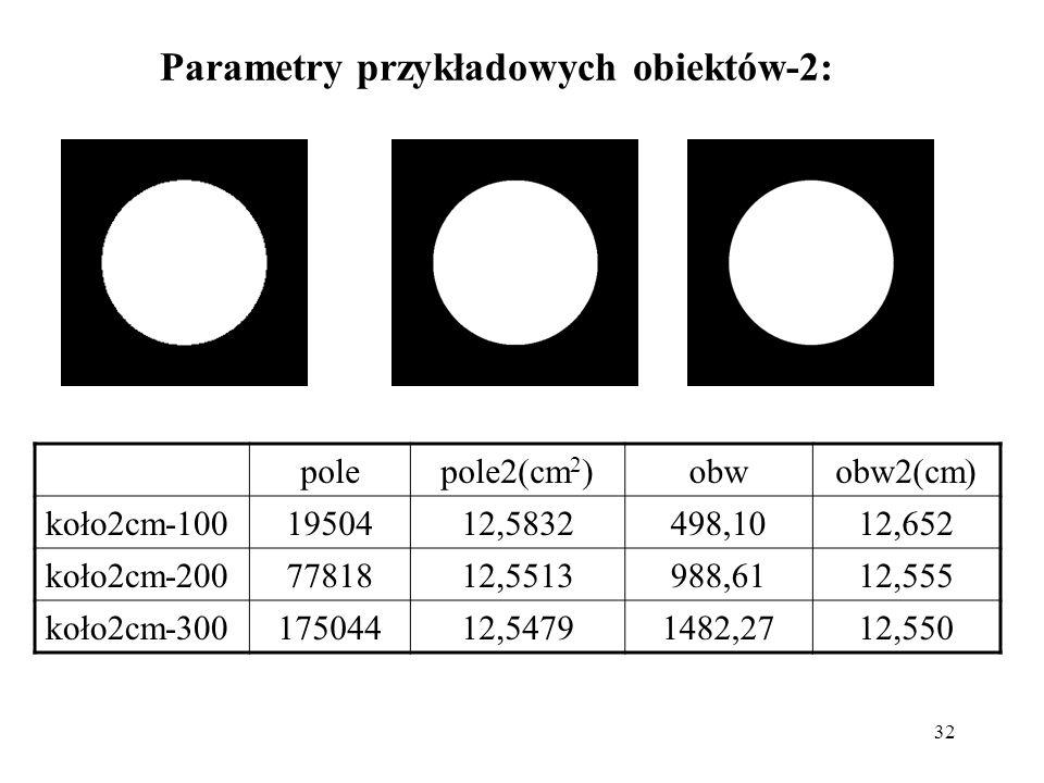 Parametry przykładowych obiektów-2: