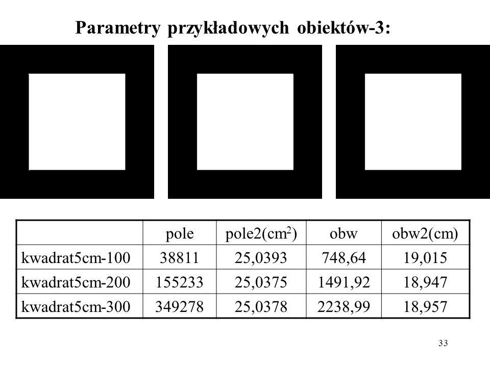 Parametry przykładowych obiektów-3: