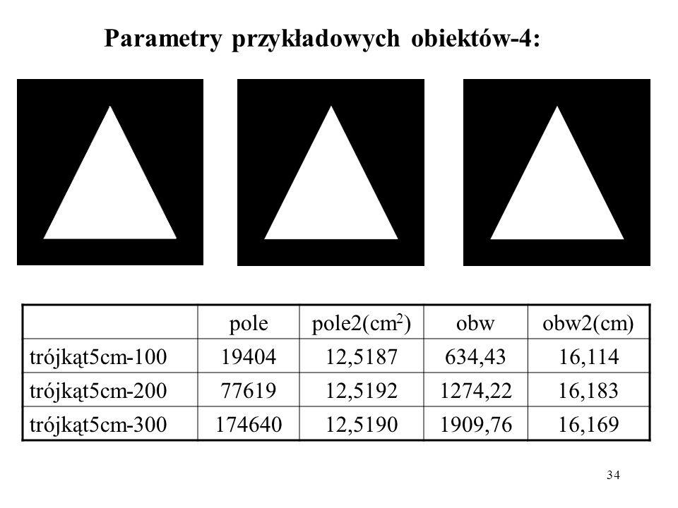 Parametry przykładowych obiektów-4: