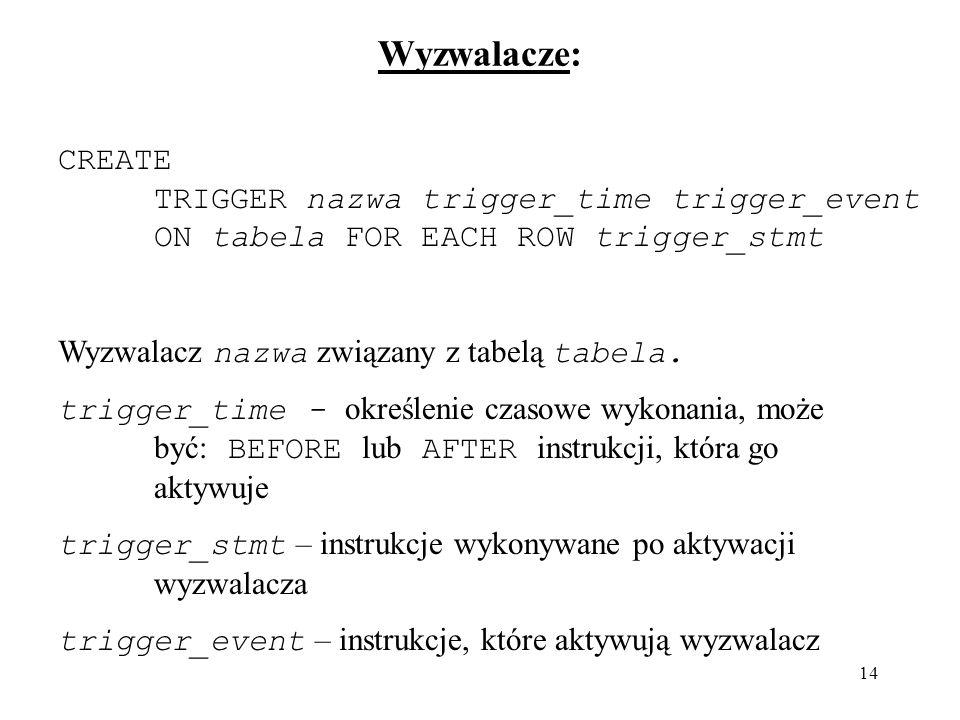Wyzwalacze: CREATE TRIGGER nazwa trigger_time trigger_event