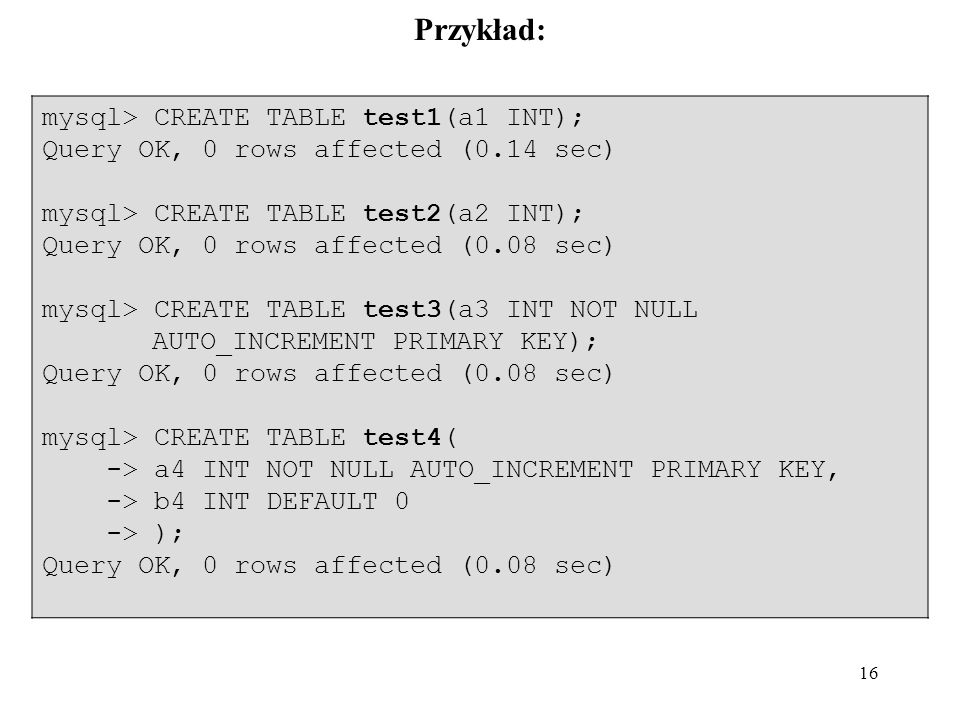 Przykład: mysql> CREATE TABLE test1(a1 INT);