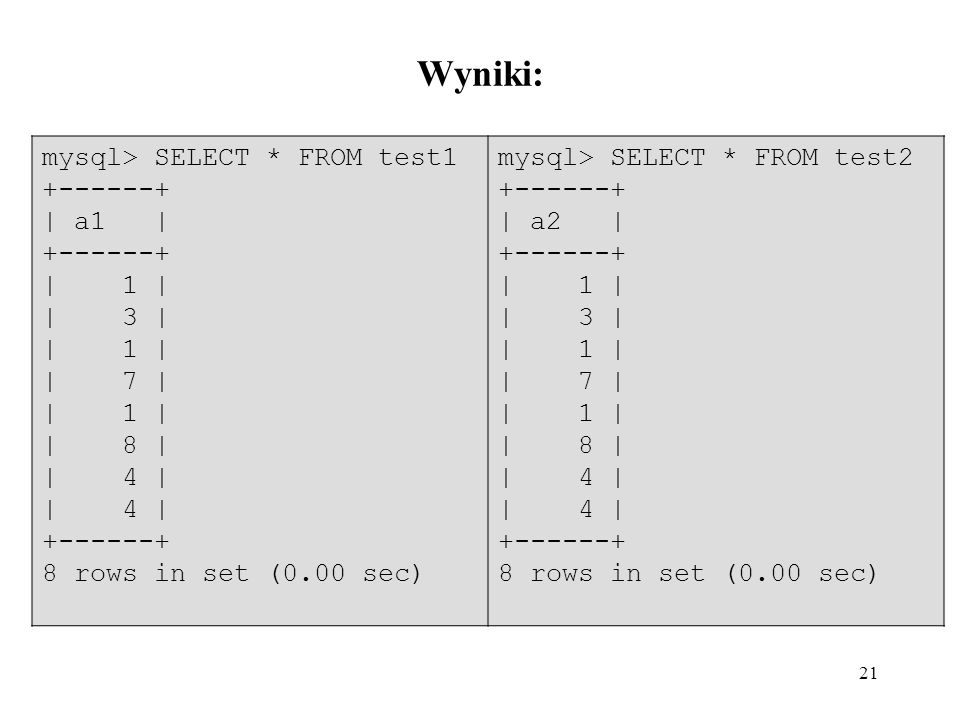 Wyniki: mysql> SELECT * FROM test | a1 | | 1 | | 3 |
