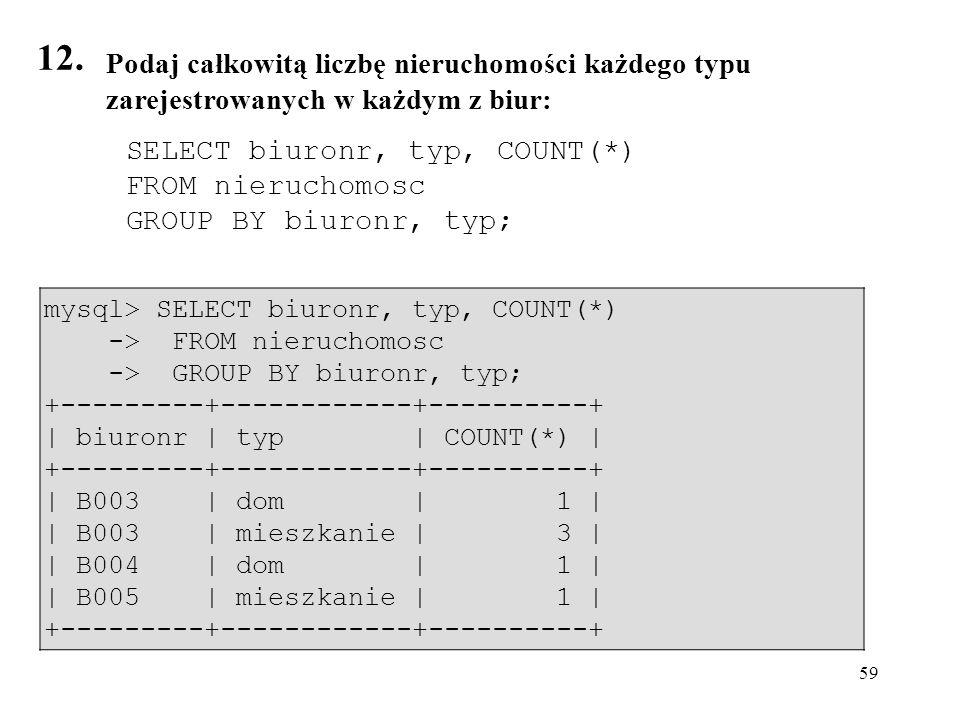 12. Podaj całkowitą liczbę nieruchomości każdego typu zarejestrowanych w każdym z biur: SELECT biuronr, typ, COUNT(*)