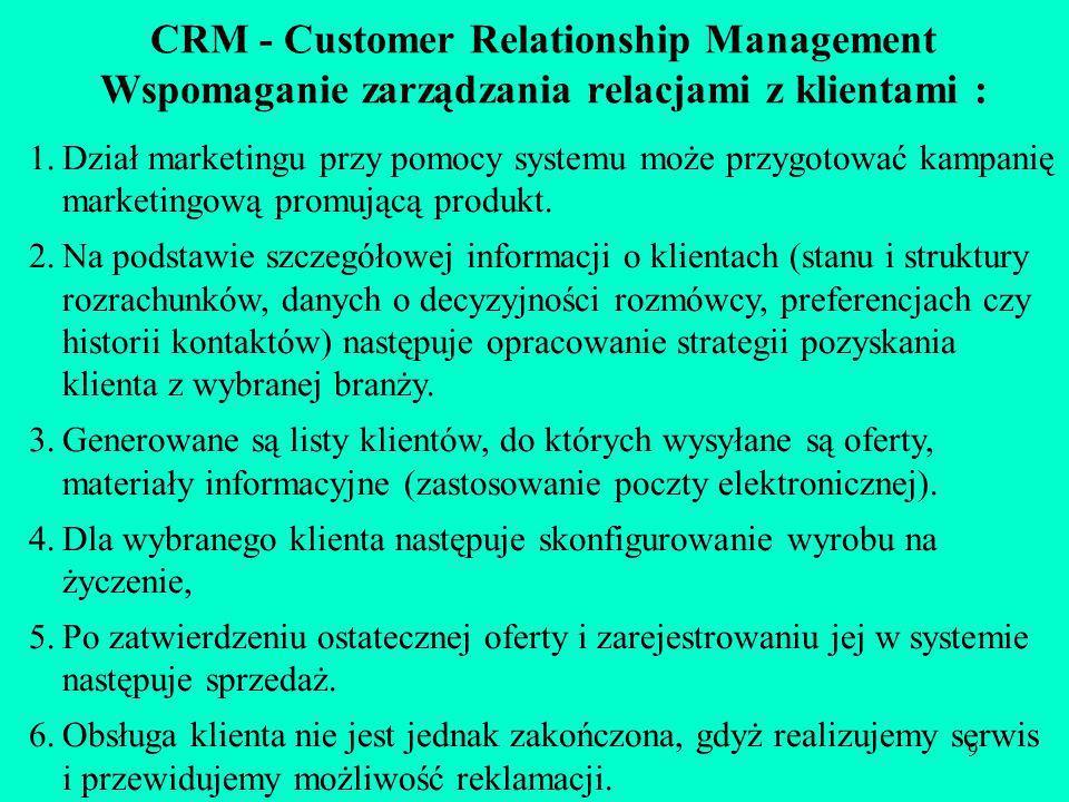 CRM - Customer Relationship Management Wspomaganie zarządzania relacjami z klientami :