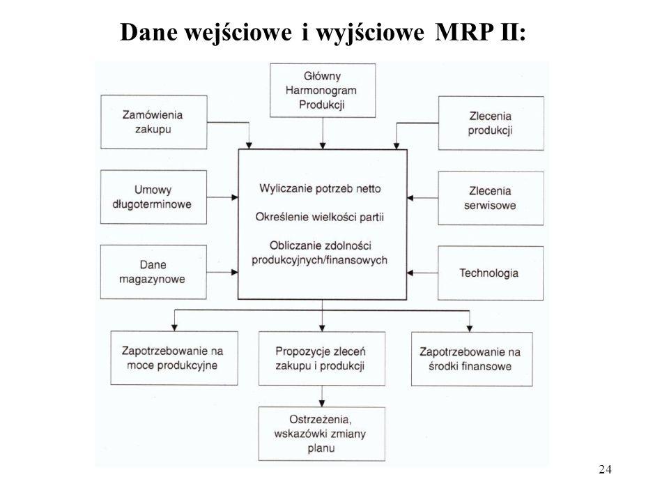 Dane wejściowe i wyjściowe MRP II: