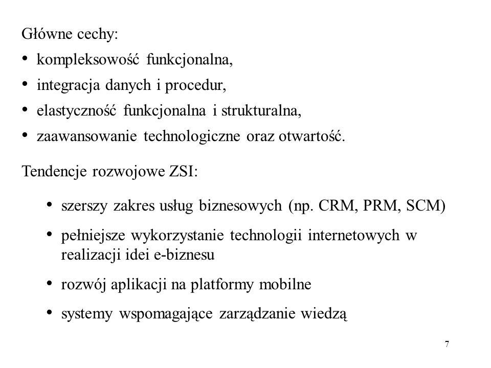 Główne cechy: kompleksowość funkcjonalna, integracja danych i procedur, elastyczność funkcjonalna i strukturalna,
