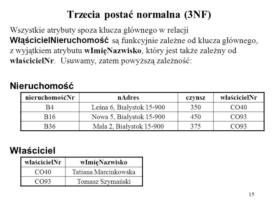 Trzecia postać normalna (3NF)