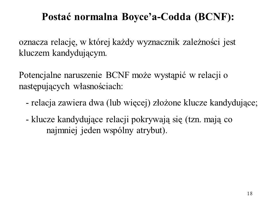 Postać normalna Boyce'a-Codda (BCNF):