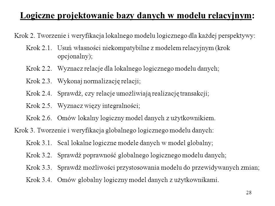 Logiczne projektowanie bazy danych w modelu relacyjnym: