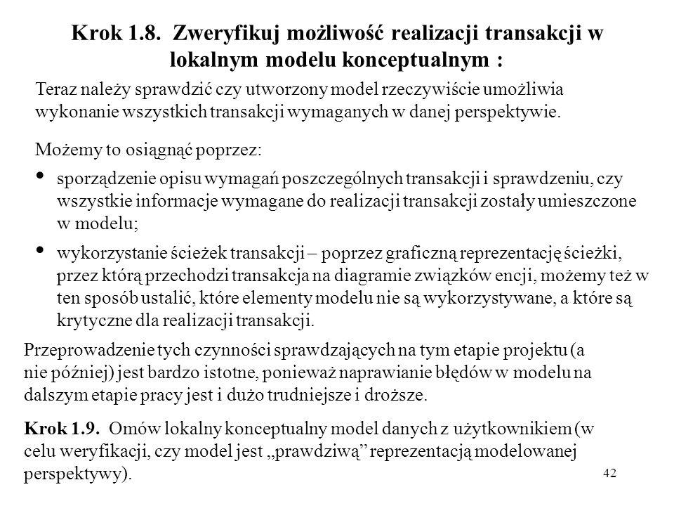 Krok 1.8. Zweryfikuj możliwość realizacji transakcji w lokalnym modelu konceptualnym :
