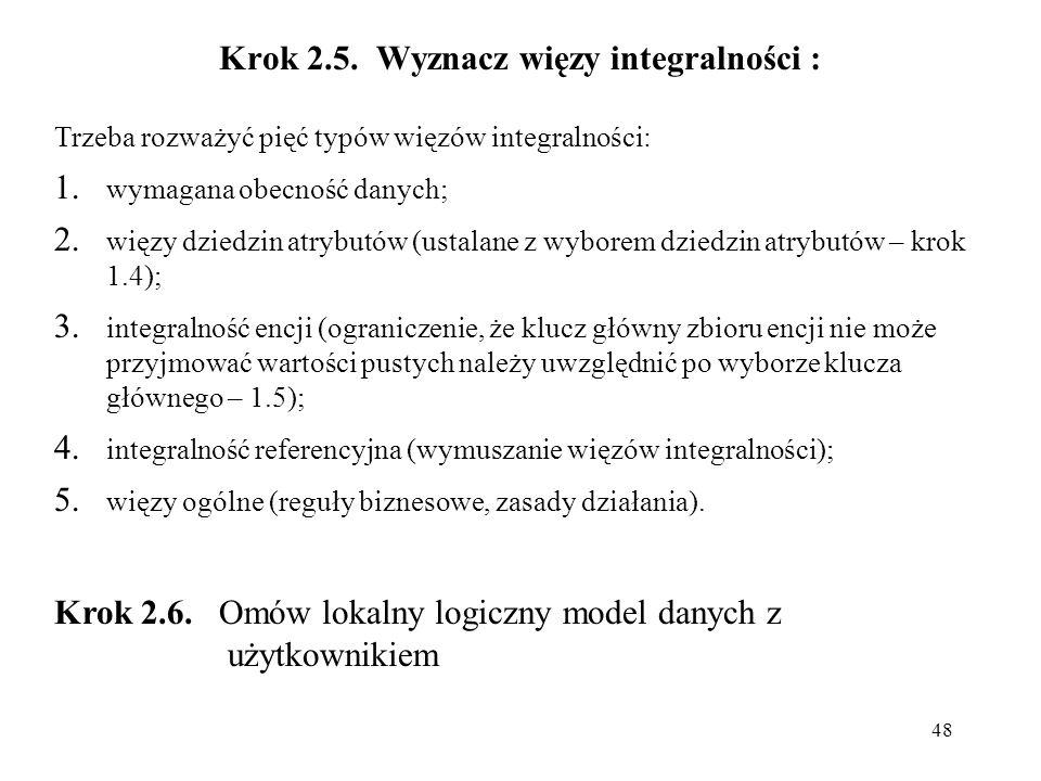 Krok 2.5. Wyznacz więzy integralności :